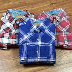 3 Jach's Girlfriend Shirts M Plaid Flannel Western